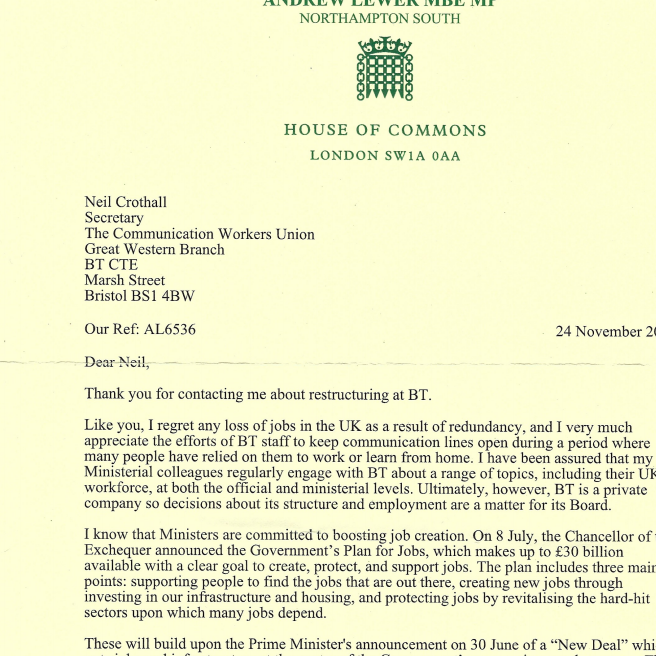 Reply letter from Andrew Lewer MP
