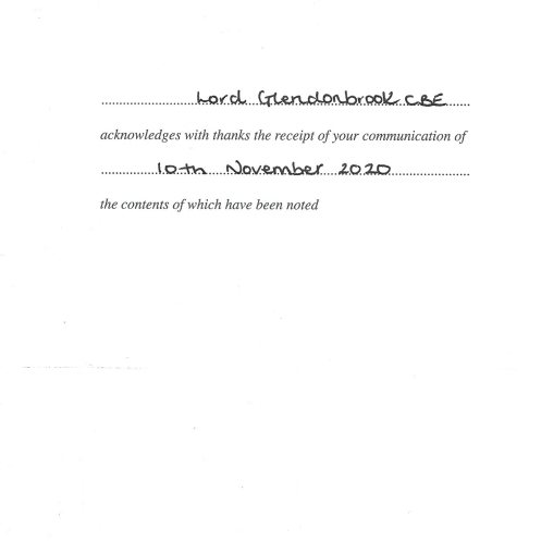 Reply letter from Lord Glendonbrook CBE