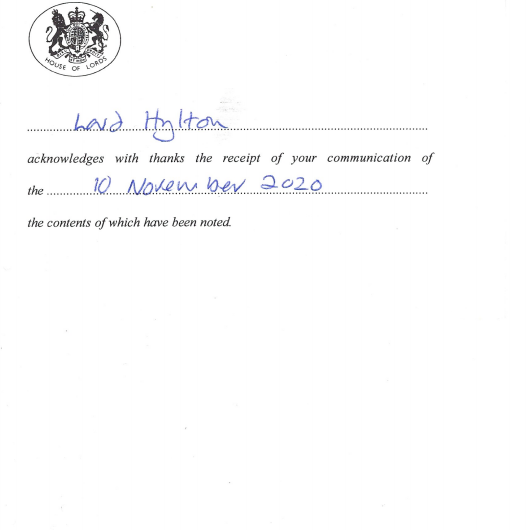 Reply letter from Lord Hylton