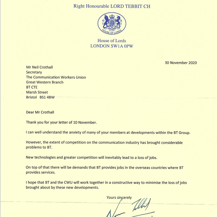 Reply letter from Lord Tebbit