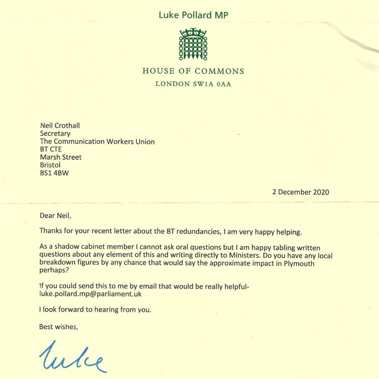 Reply letter from Luke Pollard MP