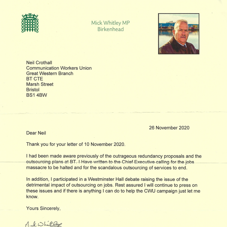 Reply letter from Mick Whitlay MP
