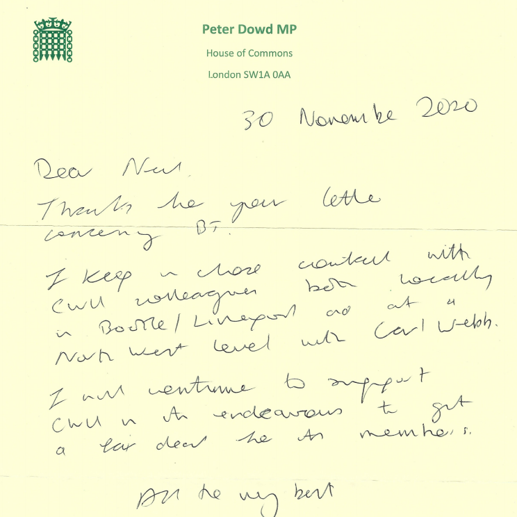 Reply letter from Peter Dowd MP