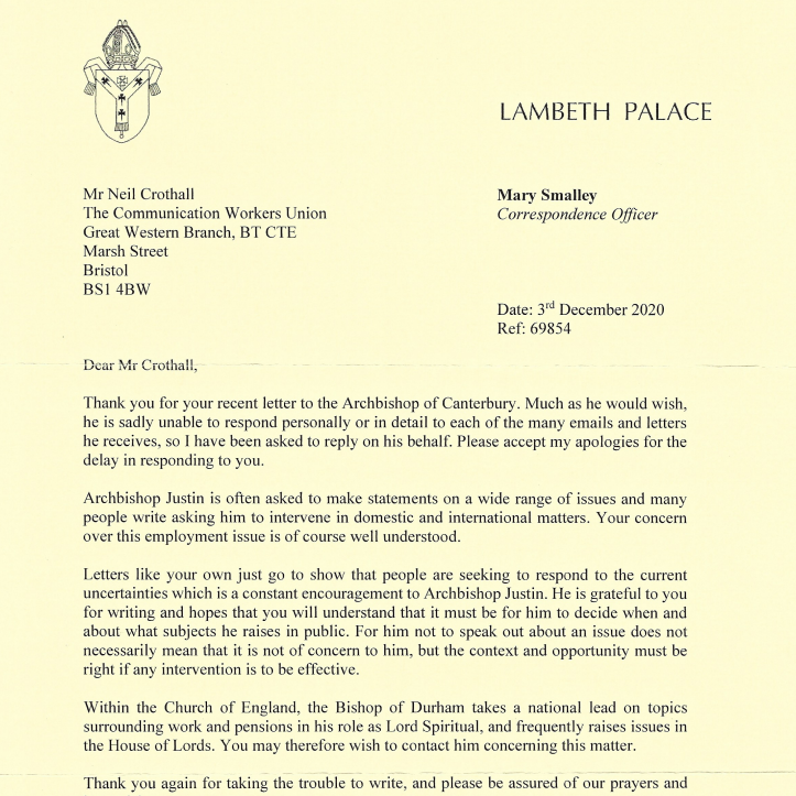 Reply letter from Archbishop of Canterbury