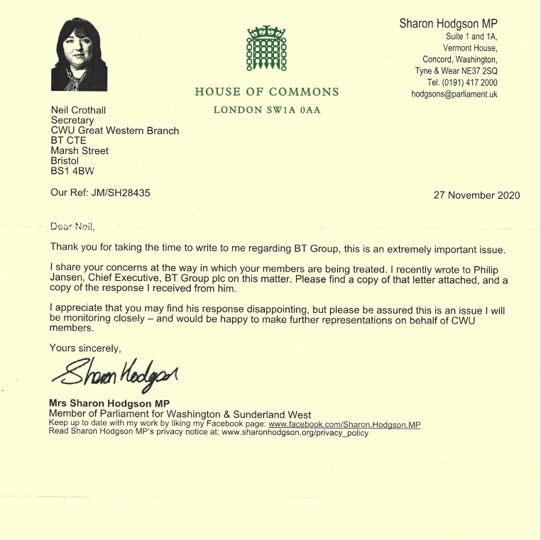 Reply letter from Sharon Hodgson MP