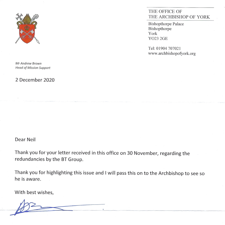 Reply letter from Archbishop of York