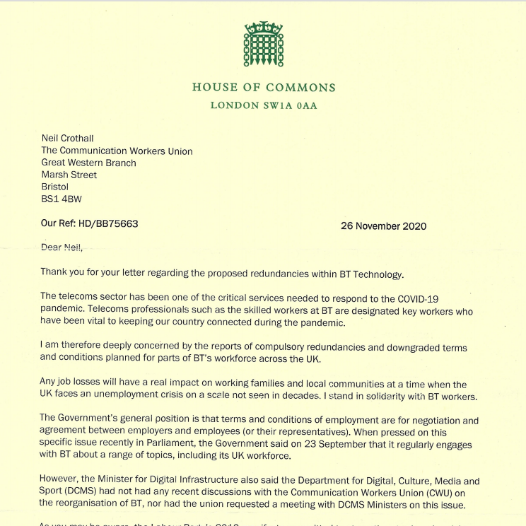 Reply letter from Ben Bradshaw MP