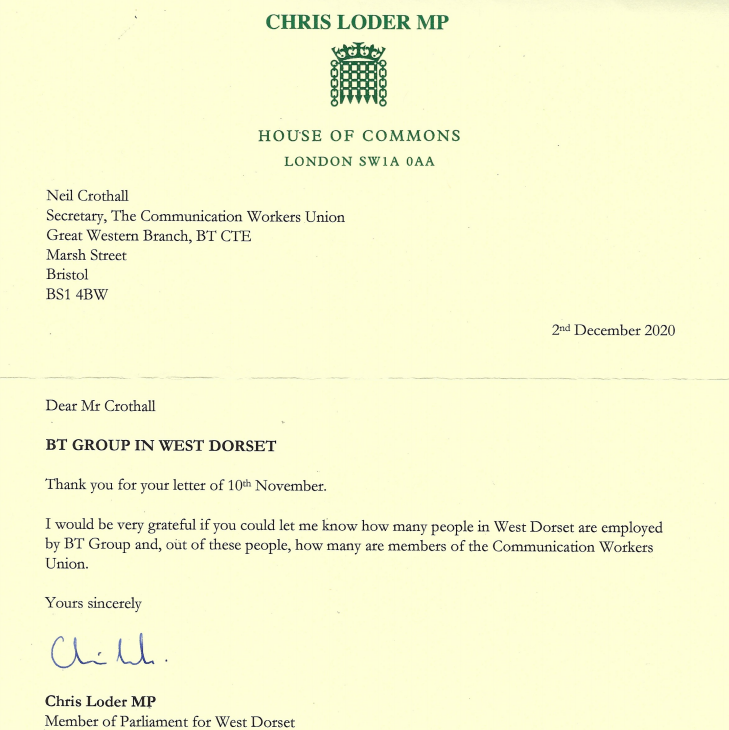 Reply letter from Chris Loder MP