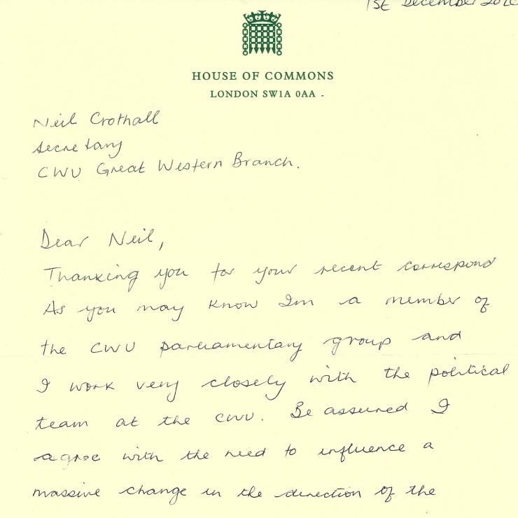 Reply letter from Ian Lavery MP
