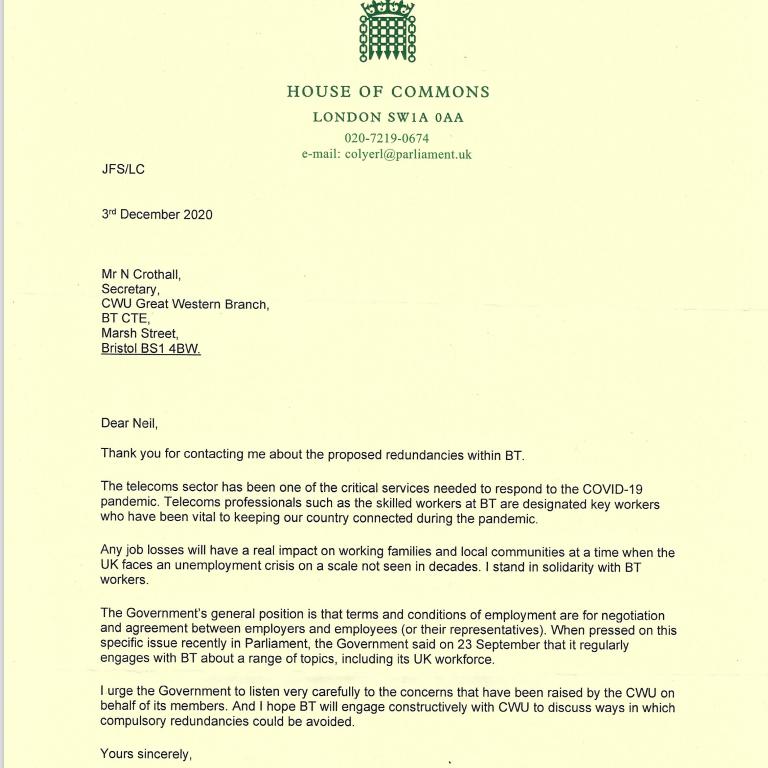 Reply letter from John F Spellar MP