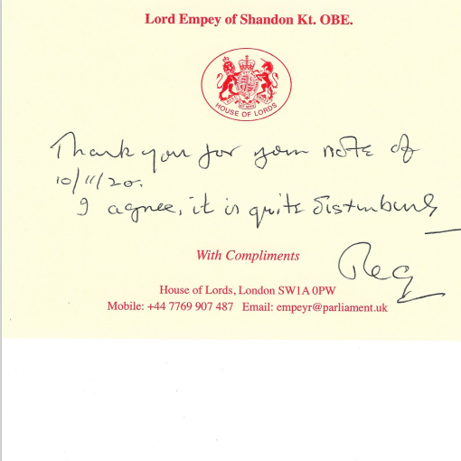 Reply letter from Lord Empey of Shandon